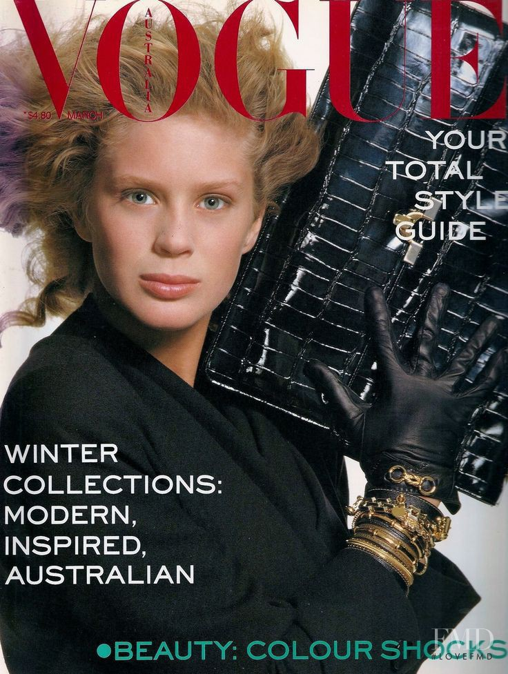 Rachel Hunter featured on the Vogue Australia cover from March 1988