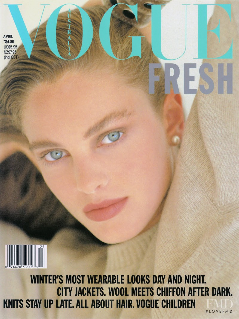 Kylie Gray featured on the Vogue Australia cover from April 1989