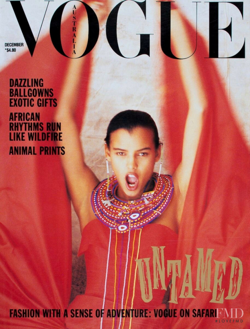 Tanya Eggers featured on the Vogue Australia cover from December 1989