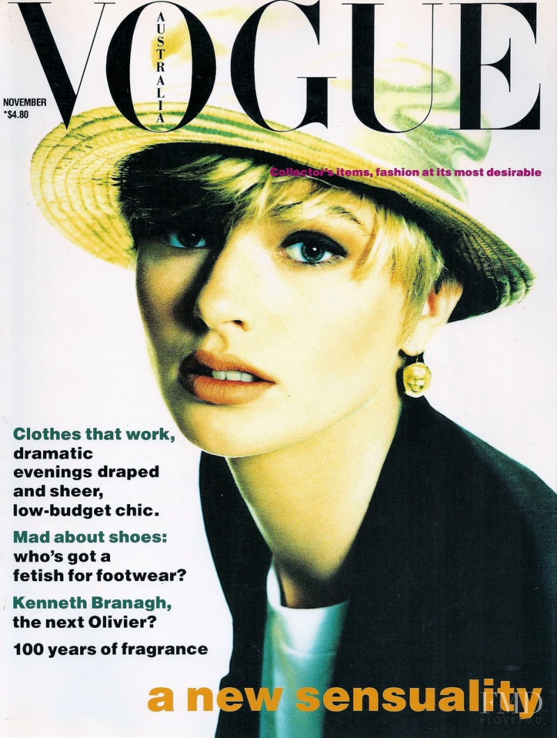 Jenny Hayman featured on the Vogue Australia cover from November 1989