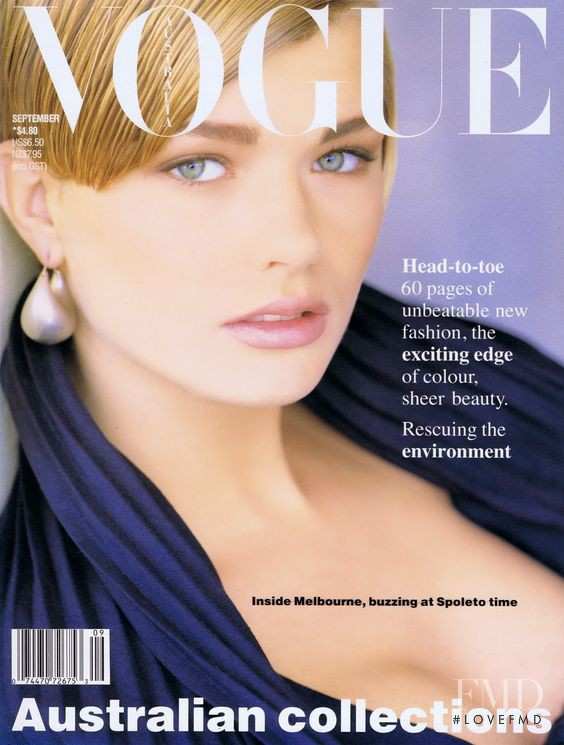 Jenny Hayman featured on the Vogue Australia cover from September 1989