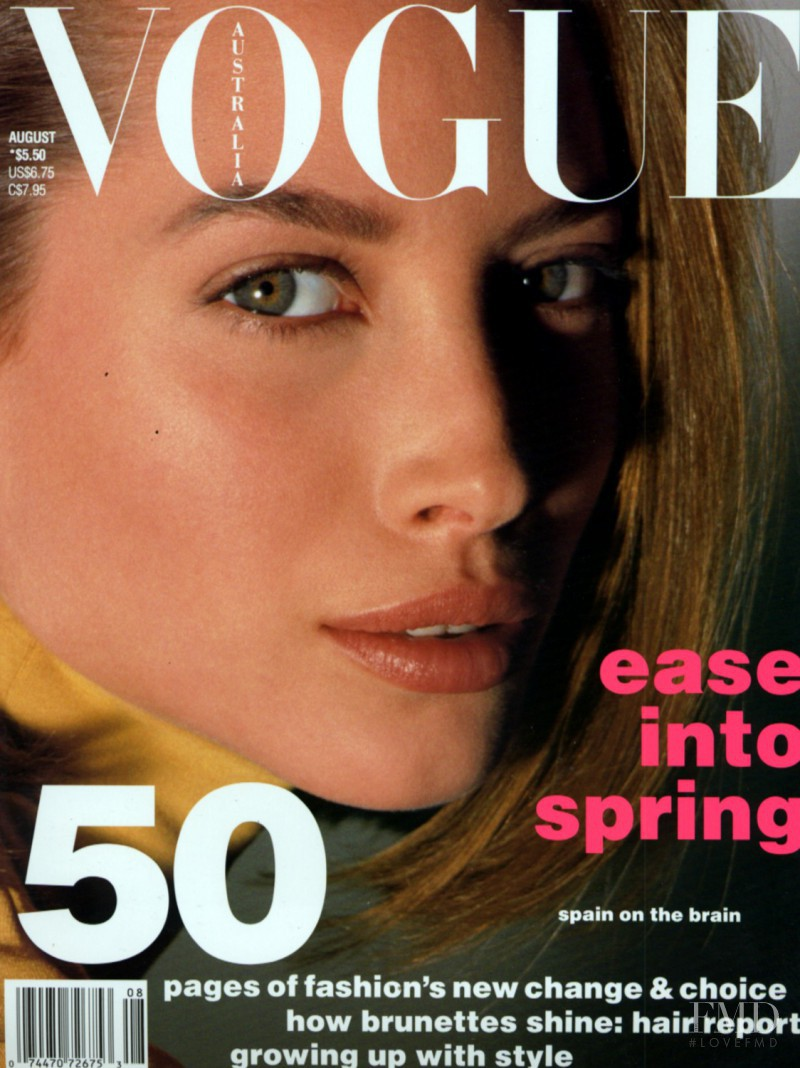 Christy Turlington featured on the Vogue Australia cover from August 1990