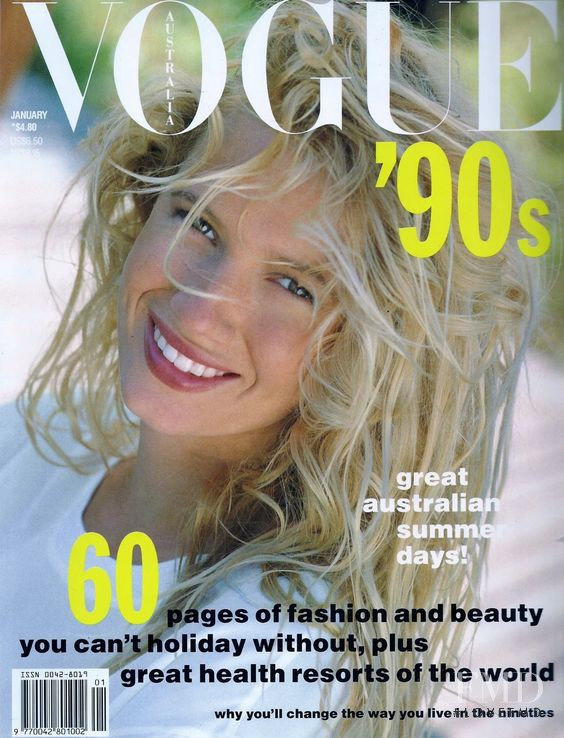 Indra featured on the Vogue Australia cover from January 1990