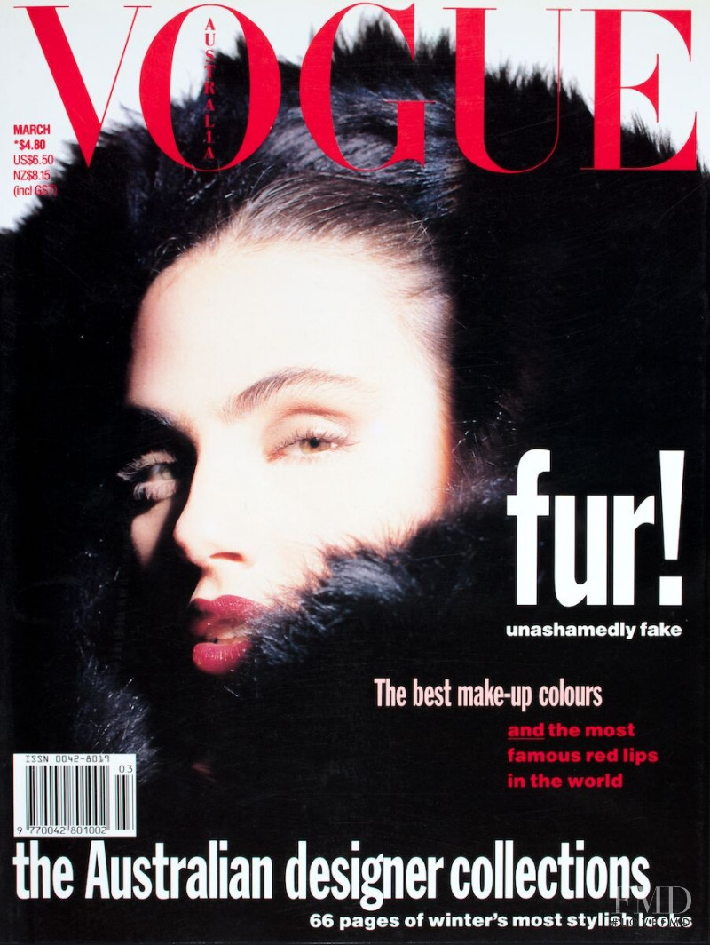 Carol Schwarz featured on the Vogue Australia cover from March 1990