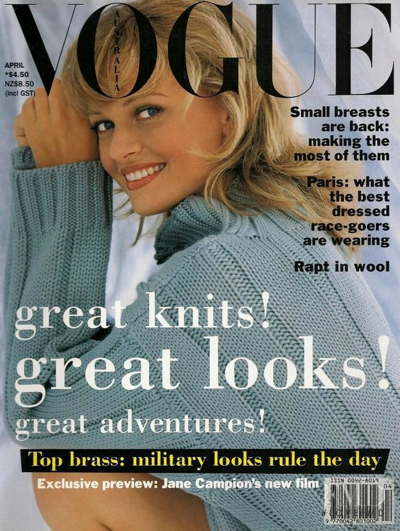 Sarah Murdoch featured on the Vogue Australia cover from April 1993