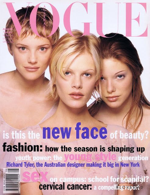 Emma Balfour, Jaime Rishar, Kate Dillon featured on the Vogue Australia cover from August 1993