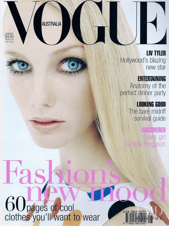 Danielle Ferguson featured on the Vogue Australia cover from August 1996