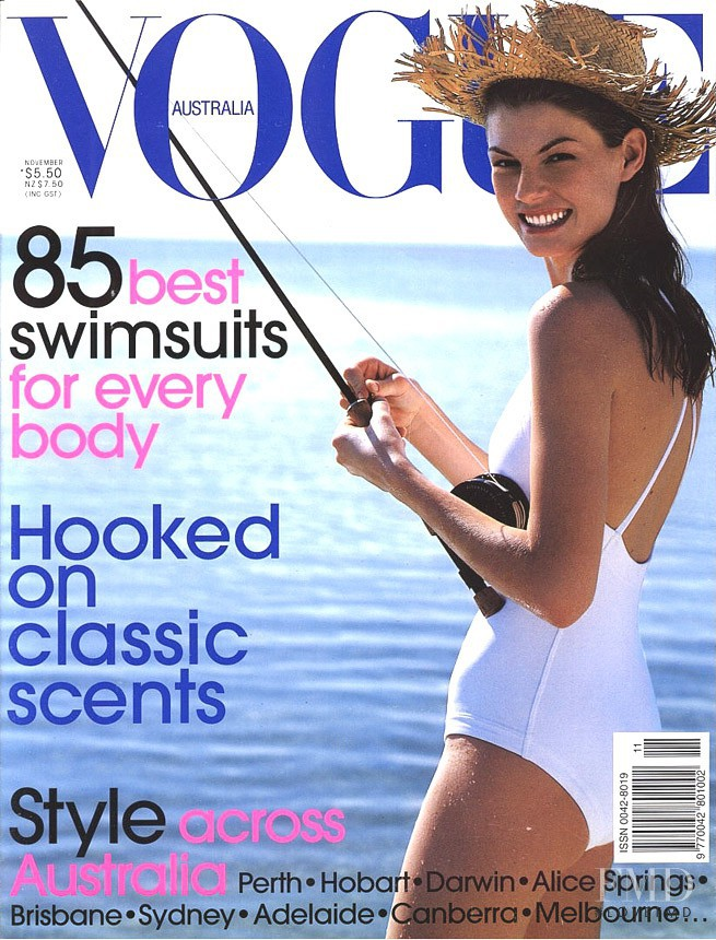 Angela Lindvall featured on the Vogue Australia cover from November 1998