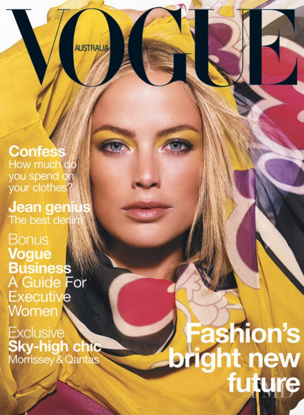 Carolyn Murphy featured on the Vogue Australia cover from August 2003
