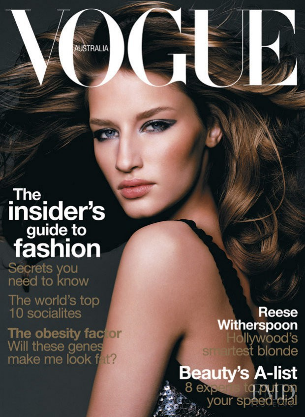 Linda Vojtova featured on the Vogue Australia cover from September 2003