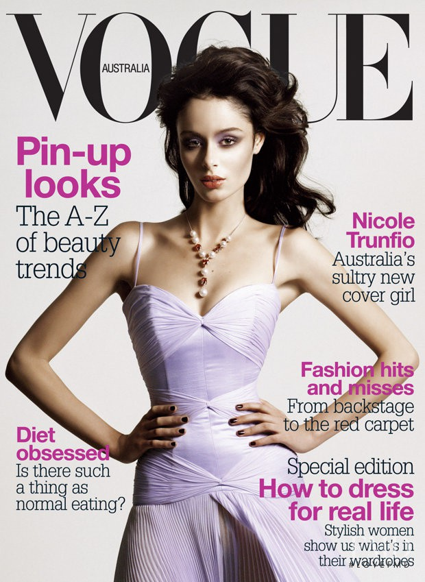 Nicole Trunfio featured on the Vogue Australia cover from August 2004