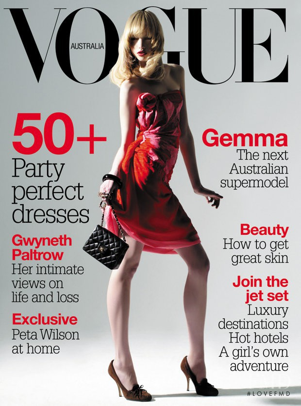 Gemma Ward featured on the Vogue Australia cover from February 2004