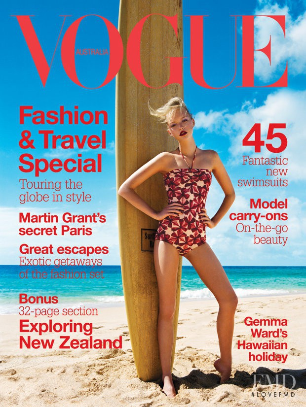 Gemma Ward featured on the Vogue Australia cover from November 2004