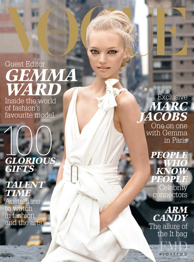 Gemma Ward featured on the Vogue Australia cover from December 2005
