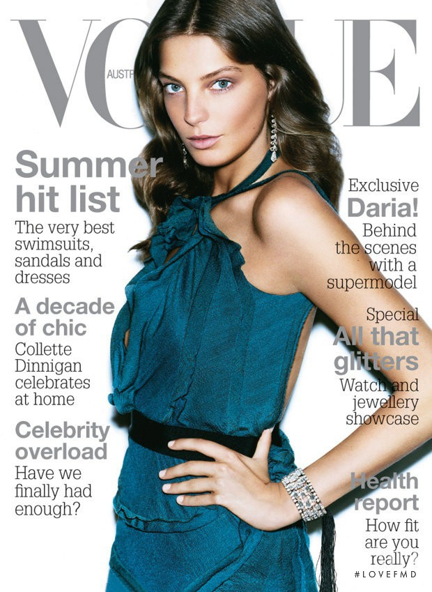Daria Werbowy featured on the Vogue Australia cover from November 2005
