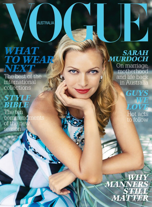 Sarah Murdoch featured on the Vogue Australia cover from March 2006