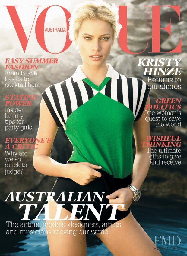 Kristy Hinze featured on the Vogue Australia cover from December 2007
