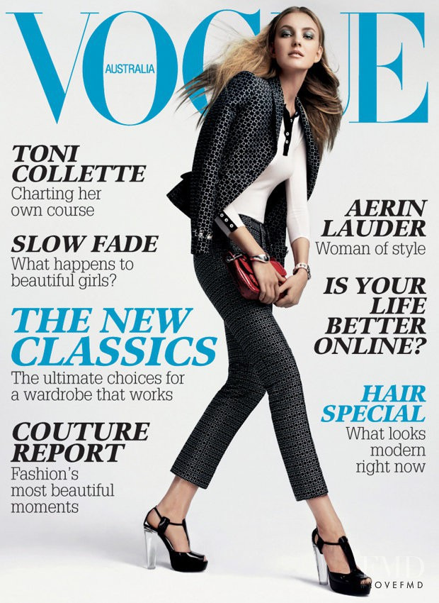 Alice Burdeu featured on the Vogue Australia cover from May 2007