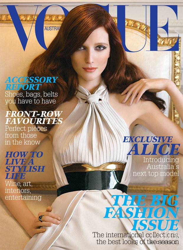 Alice Burdeu featured on the Vogue Australia cover from September 2007