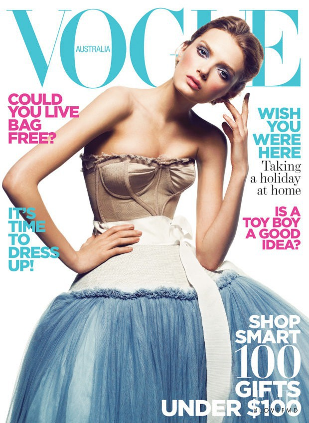 Lily Donaldson featured on the Vogue Australia cover from December 2008