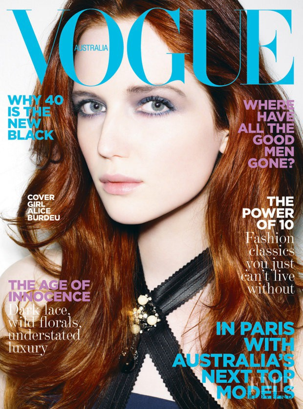 Alice Burdeu featured on the Vogue Australia cover from July 2008