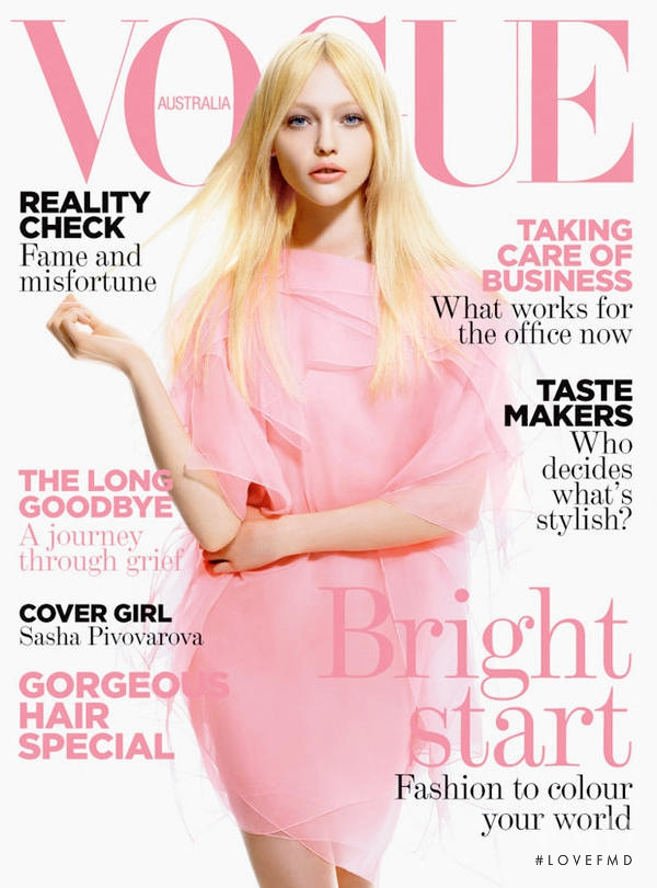Sasha Pivovarova featured on the Vogue Australia cover from March 2008