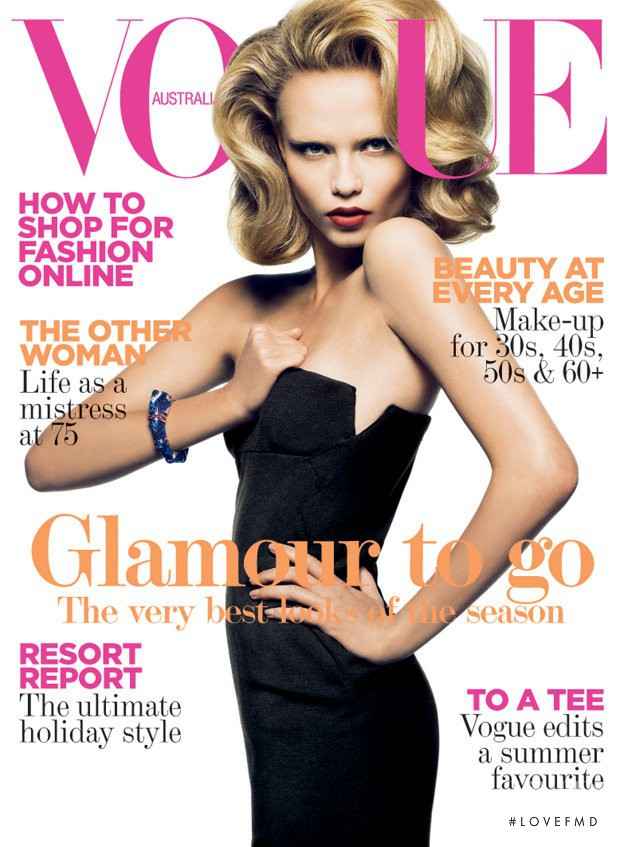 Natasha Poly featured on the Vogue Australia cover from October 2008