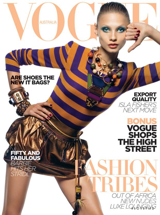 Anna Selezneva featured on the Vogue Australia cover from April 2009