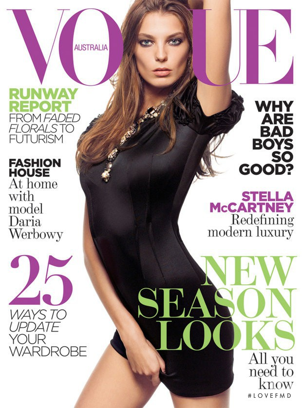 Daria Werbowy featured on the Vogue Australia cover from February 2009