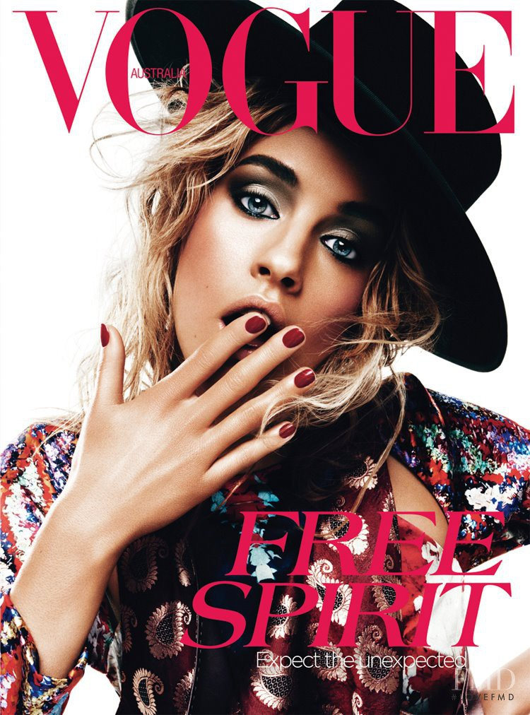 Julia Frauche featured on the Vogue Australia cover from April 2012
