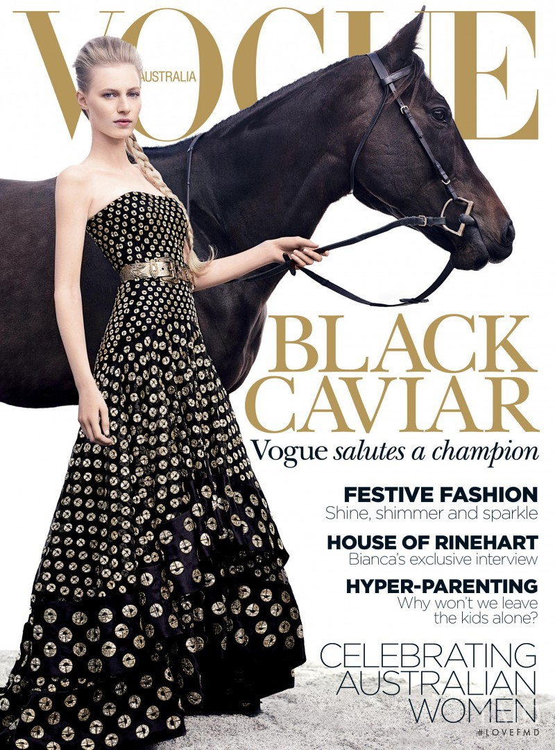 Julia Nobis featured on the Vogue Australia cover from December 2012