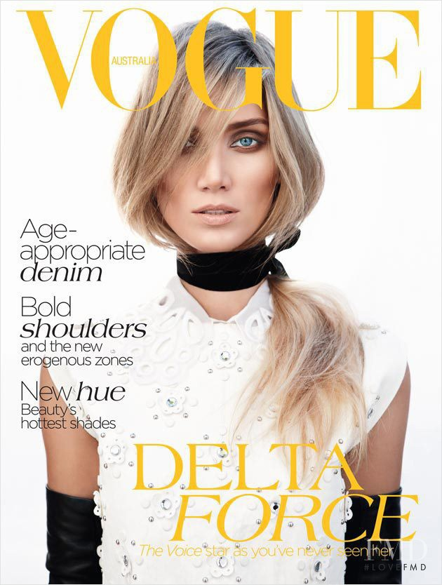 Delta Goodrem featured on the Vogue Australia cover from July 2012