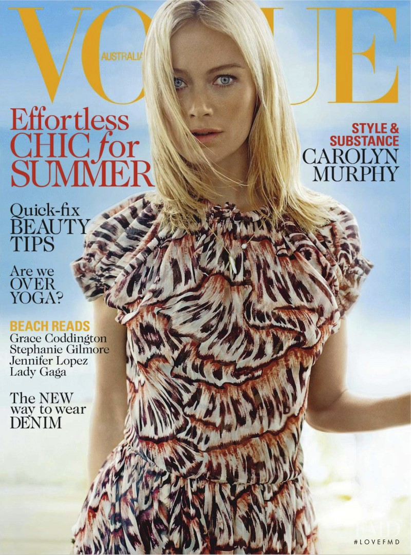 Carolyn Murphy featured on the Vogue Australia cover from January 2013