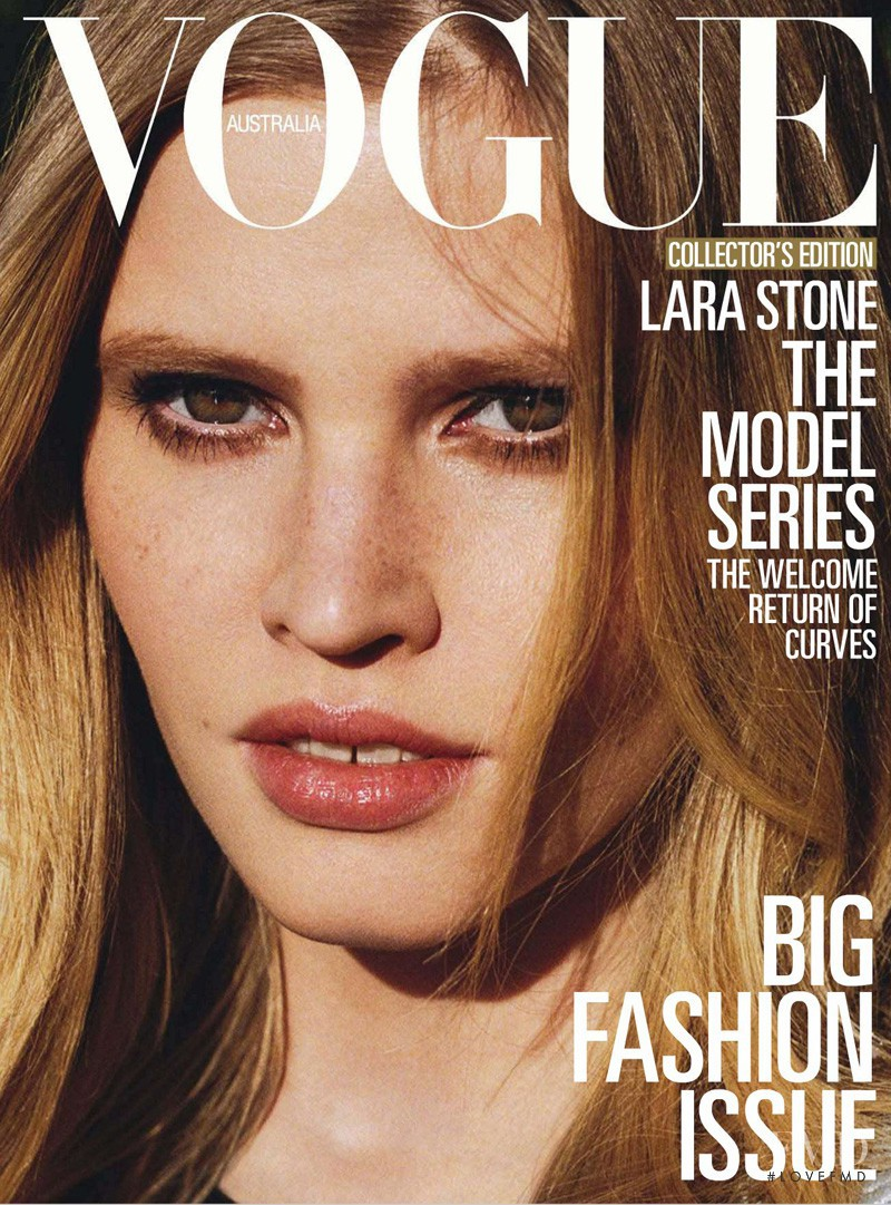 Lara Stone featured on the Vogue Australia cover from March 2013