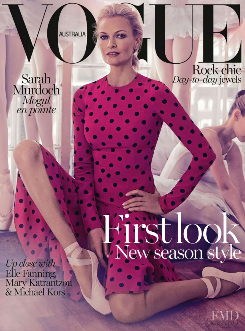 Sarah Murdoch featured on the Vogue Australia cover from August 2014