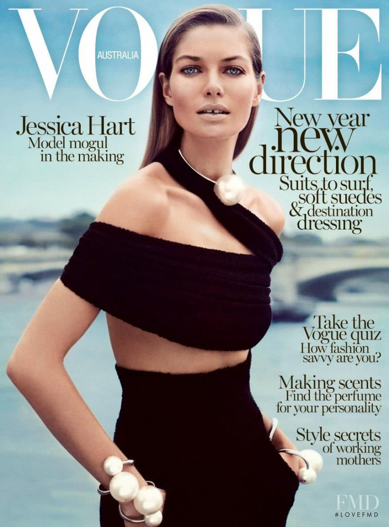 Jessica Hart featured on the Vogue Australia cover from January 2014