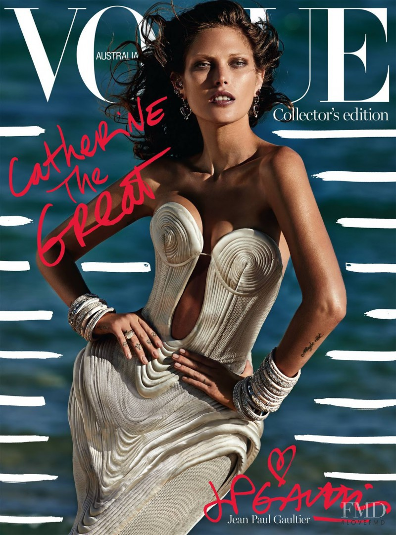 Catherine McNeil featured on the Vogue Australia cover from October 2014