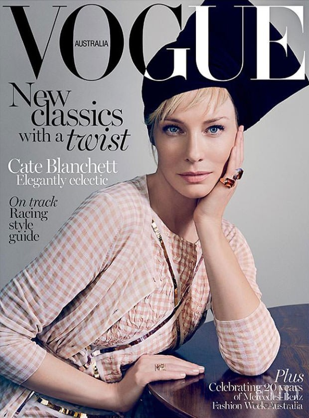 Cate Blanchett featured on the Vogue Australia cover from April 2015