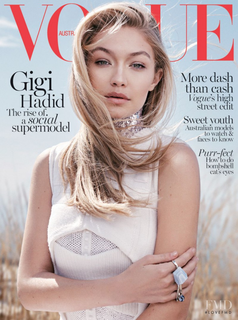 Gigi Hadid featured on the Vogue Australia cover from June 2015