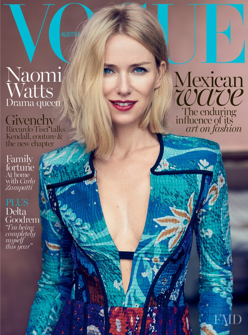 Naomi Watts featured on the Vogue Australia cover from October 2015