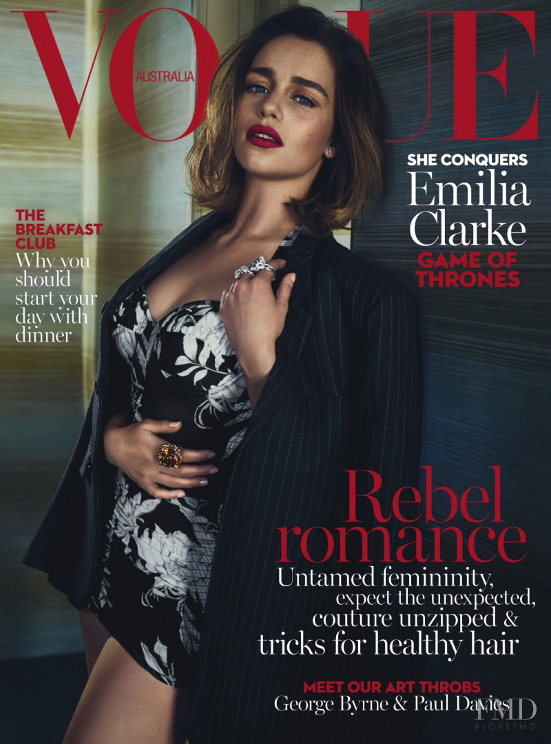 Emilia Clarke featured on the Vogue Australia cover from May 2016
