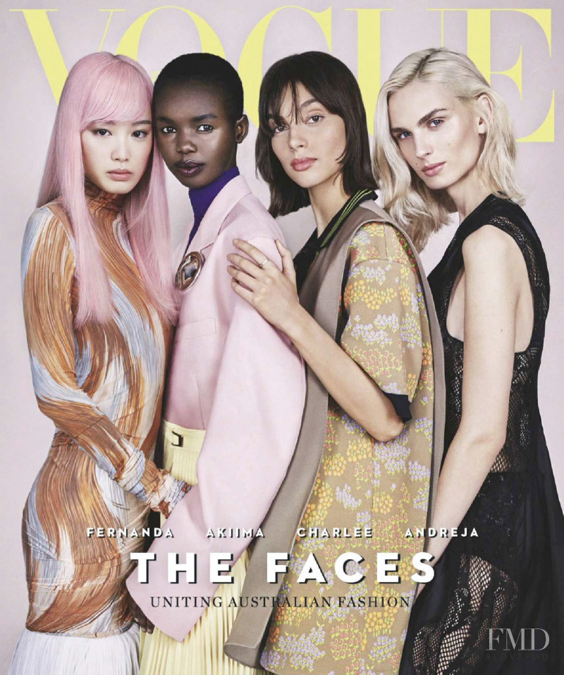 Andrej Pejic, Fernanda Hin Lin Ly, Charlee Fraser, Akiima Ajak featured on the Vogue Australia cover from April 2018