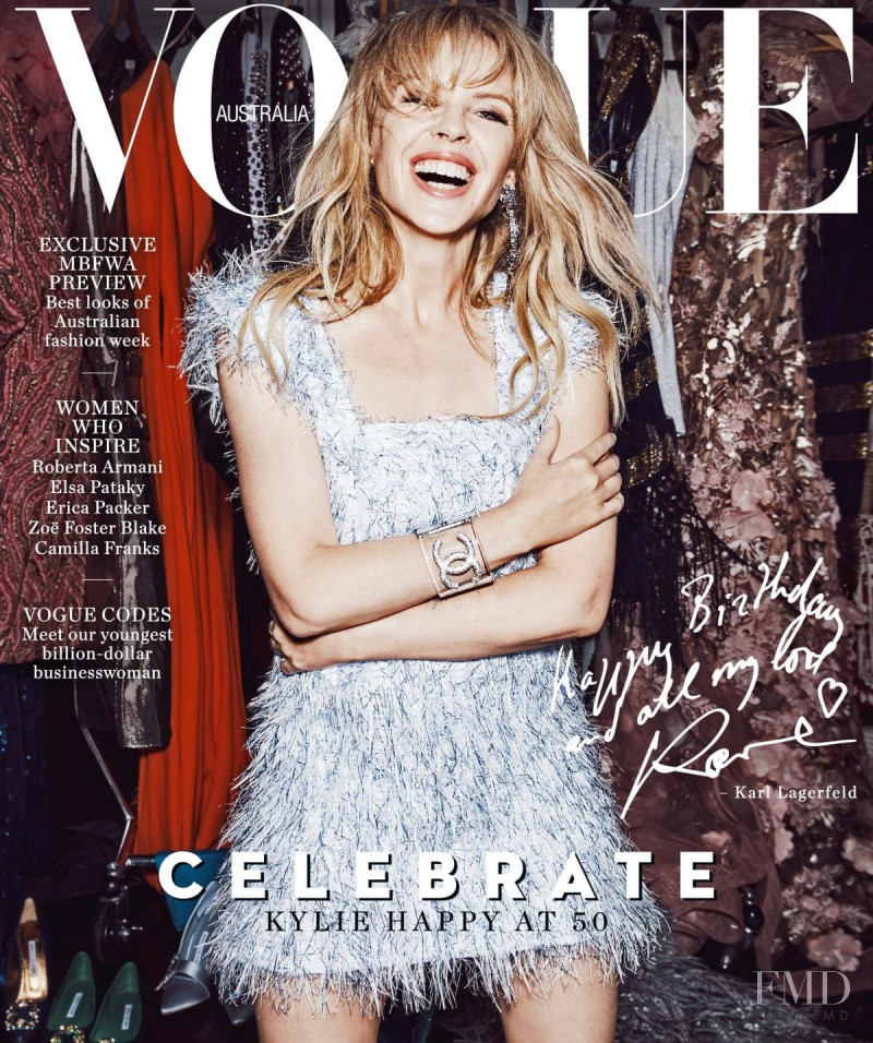 Kylie Minogue featured on the Vogue Australia cover from May 2018