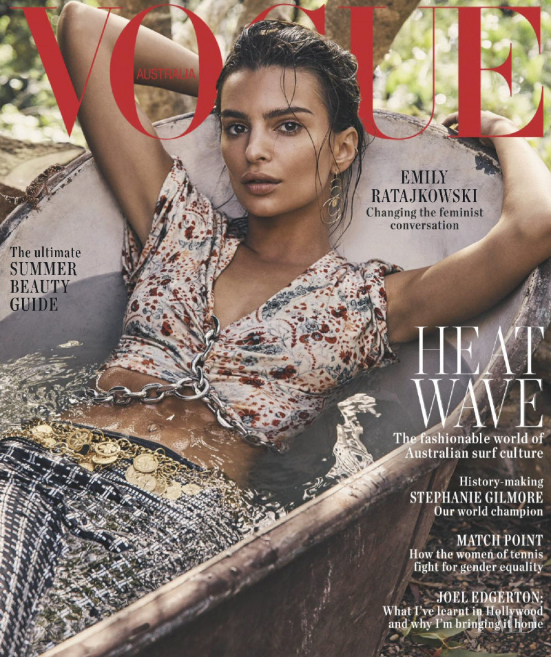 Emily Ratajkowski featured on the Vogue Australia cover from January 2019