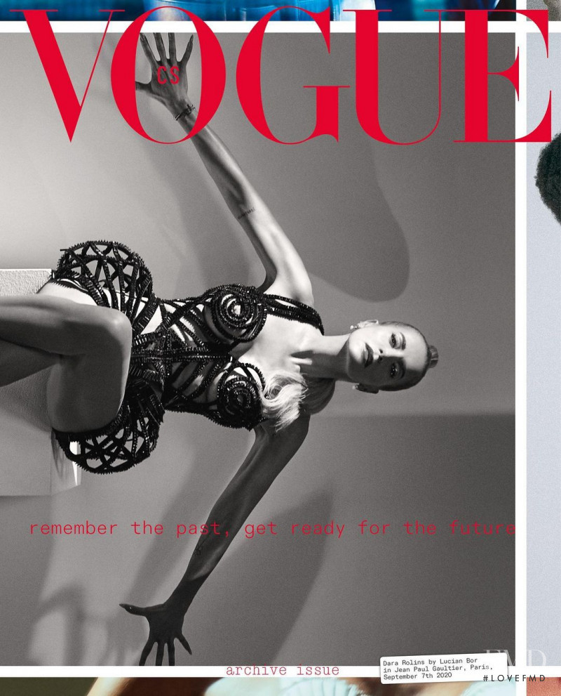 Dara Rolins featured on the Vogue Czechoslovakia cover from October 2020