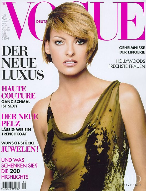 Linda Evangelista featured on the Vogue Germany cover from November 1996
