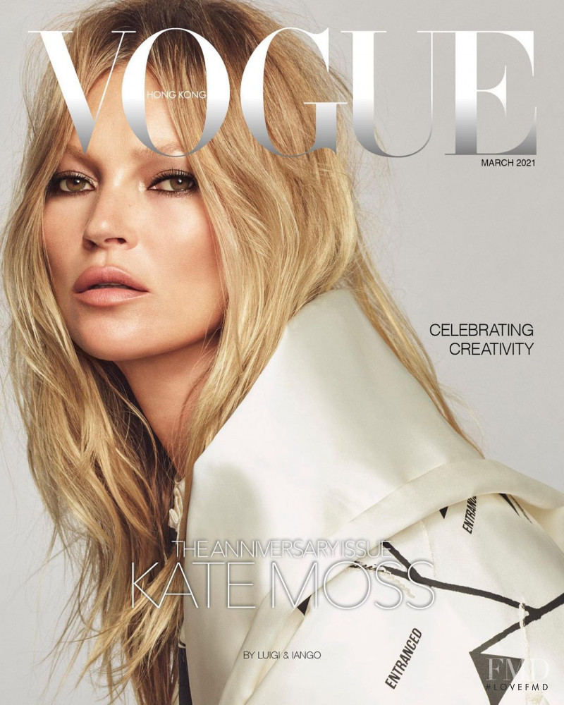 Kate Moss featured on the Vogue Hong Kong cover from March 2021