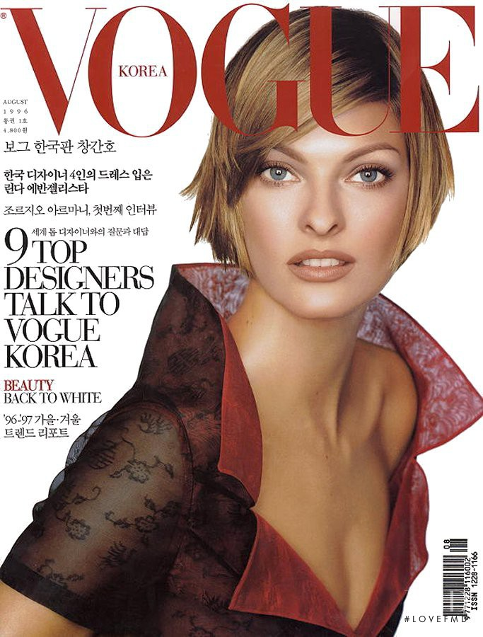 Linda Evangelista featured on the Vogue Korea cover from August 1996