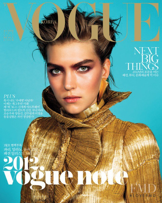 Arizona Muse featured on the Vogue Korea cover from January 2012
