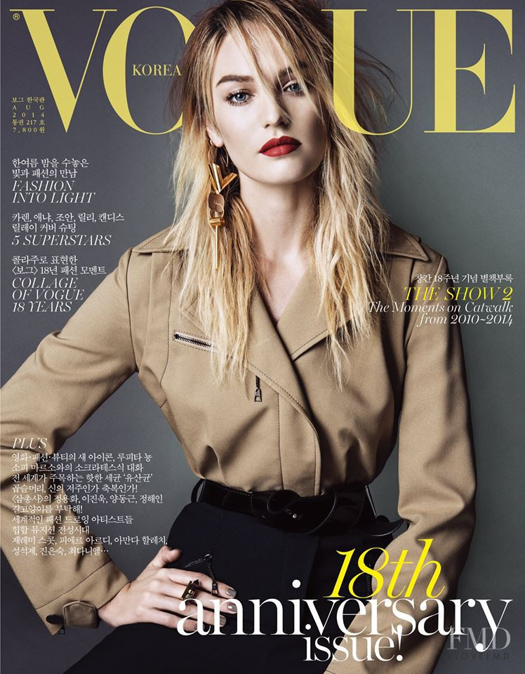 Candice Swanepoel featured on the Vogue Korea cover from August 2014